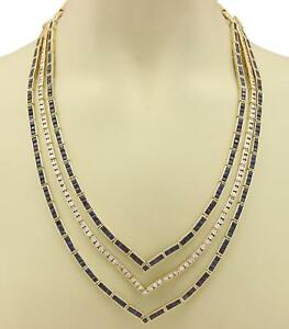 Estate-54-60ct-Diamond-amp-Sapphire-18k-Yellow-Gold-Fancy-3-Row-Necklace