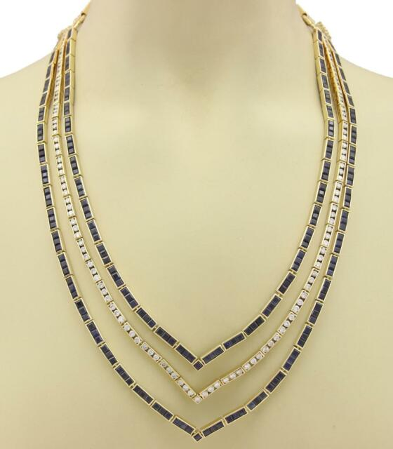 Estate 54.60ct Diamond & Sapphire 18k Yellow Gold Fancy 3 Row Necklace