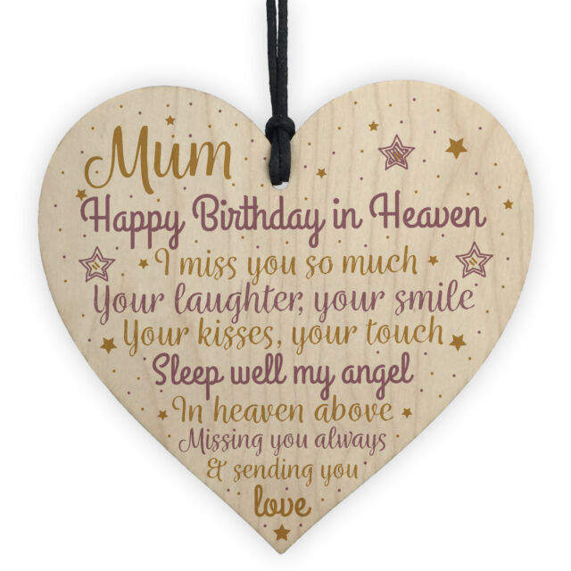 Mum Mother Memorial Birthday Plaque Wood Heart Grave Tribute Rememberance Gift For Sale Online