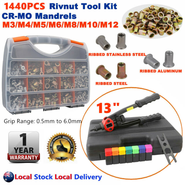 "1440PC Heavy Duty Rivnut Riveter 13"" Rivet Nut Gun Riveting Kit Nutsert M3 - M12"