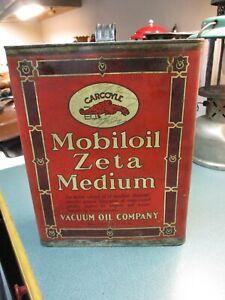 RARE EARLY 1900'S ORIGINAL VINTAGE MOBILOIL ZETA MEDIUM GARGOYLE OIL CAN RED