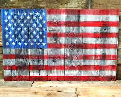 Vintage American Flag Hand-Painted Refurbished Wood 48''X30'' 4th of July