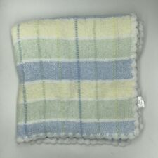Designer Baby Blanket Large Chenille Blanket Blue Green and White Plaid