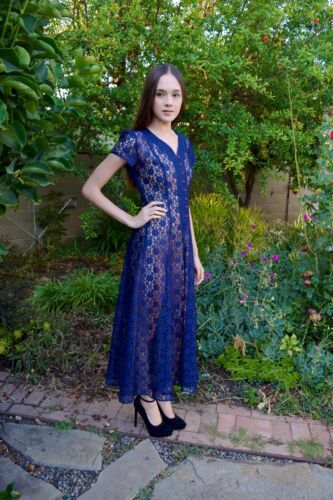 Vintage 1990s All That Jazz Navy Blue Floral Lace