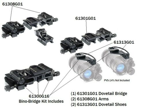 Tactical Aluminum Small J Arm Mount Bracket Adapter For DOUBLE PVS 14 NVG