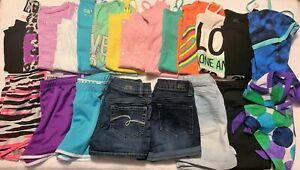 JUSTICE Girls 25pcs Spring Summer Huge Clothes Lot - Size 12 Tank Tops Shorts