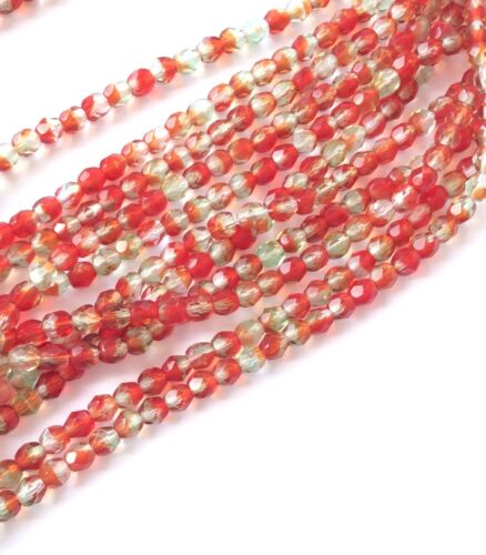 4mm Czech fire Polished 50 Beads 2 tone Red//Mint Czech Round Faceted Beads