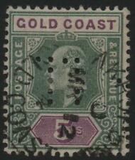 GOLD COAST: 1902 Sg 46 5/ Green & Mauve Perfinned Good Used Example (32316)