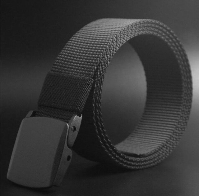 Men's BLACK Outdoor Sports Military Tactical Nylon Waistband Canvas Web Belt ONE