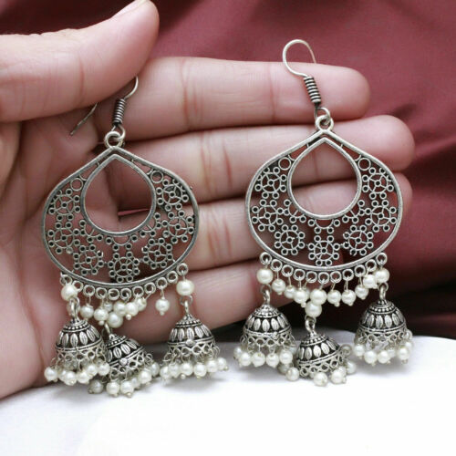 Indian Bollywood Bahubali Gold Tone Pearl jhumka JHUMKI Boucle d/'oreille Polki Jewelry