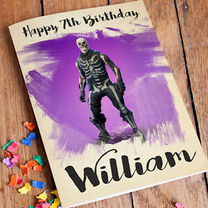 Image Is Loading SKULL TROOPER FORTNITE Personalised Birthday Card FREE Shipping