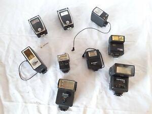 A / Lot de 9 flash pour appareil photo ancien