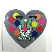 Vintage Sandylion Rare Foil Mylar Party CLOWN BALLOONS HEART Sticker Dated 1988