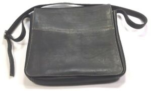 Details about Latico Black Leather Messenger Bag Contrasting Stitching  Multiple Compartments