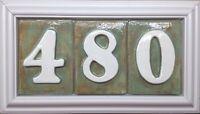 House Address Number Plaque, Pvc Weatherproof Frame, 3 Number Model. Applewood.