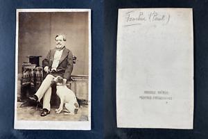 Gilbert, Paul Foucher, librettiste avec son chien Vintage cdv albumen print.Pa