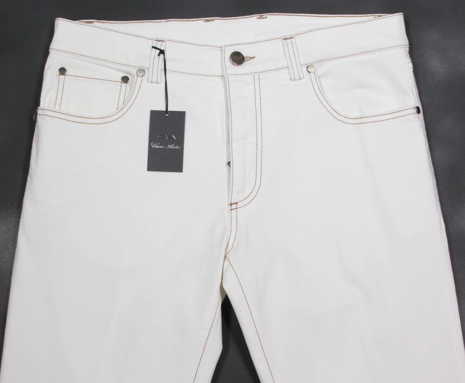 Nwt Neu Cesare Attolini Aktuelle Weiß Baumwolle Stretch Gerade Jeans 33
