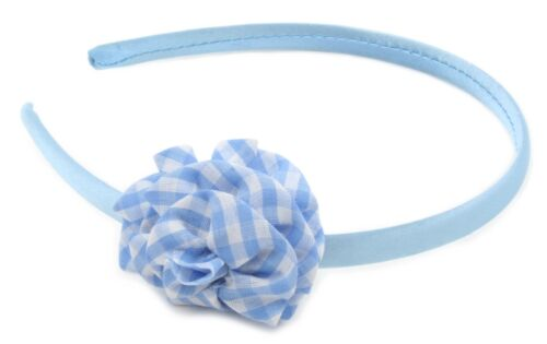 Zest Satin Alice Band with Check Print Flower