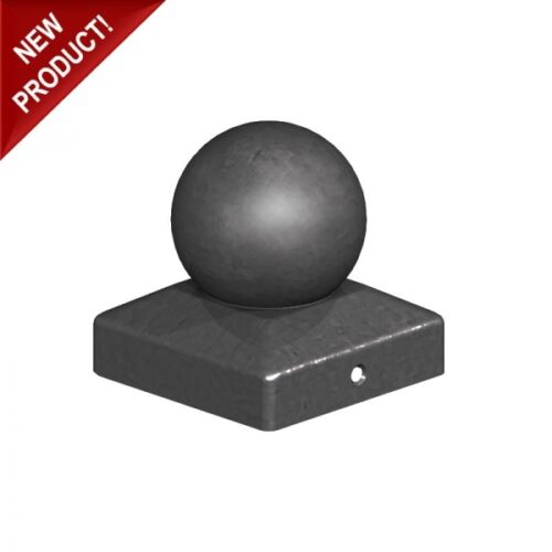 """For 4/"""" Posts 100mm Epoxy Black Metal Round Ball Fence Finial Post Caps"""
