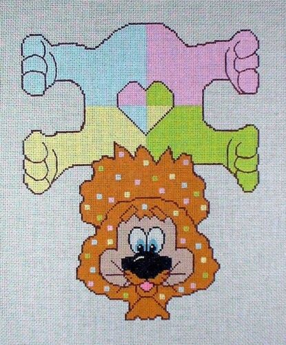 KW 1068 Bean Bag Pastel Lion Hand Painted Needlepoint Canvas