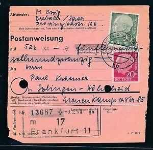 Responsable 88398) Mandat Postal-mif 20 + 90pf Francfort-solingen-afficher Le Titre D'origine éGouttage
