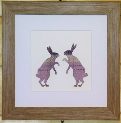 Scottsh Art Boxing Hares Picture with Lilac Tweed like Fabric