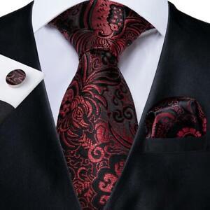 Green Black Pink Paisley Mens Tie Woven Silk Necktie Set Hanky Cufflinks Wedding