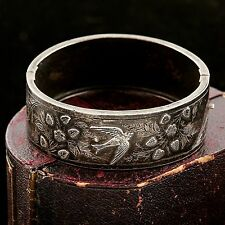 Antique Vintage Nouveau Sterling Silver English Dated 1899 Chased Rare Bracelet