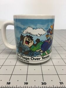 Vintage-1989-Looney-Tunes-SIX-FLAGS-OVER-TEXAS-Coffee-Mug-Bugs-Bunny-Taz