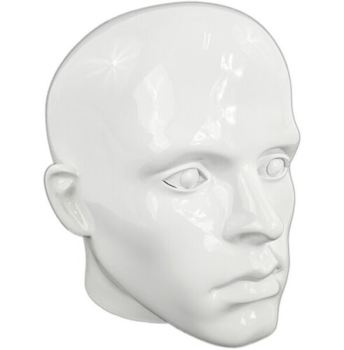 MN-G2 GLOSSY WHITE Plastic Male Realistic Head Attachment for Form//Mannequin