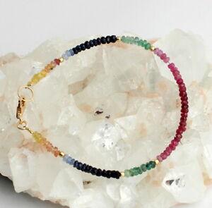 RUBIN-SAPHIR-SMARAGD-Armband-Edelstein-Regenbogenarmband-925-Silber-Bunt-farbe