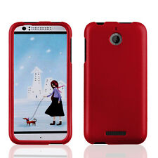 For htc Desire 510 PHONE RED SNAP-ON HARD SKIN CASE COVER + SCREEN PROTECTOR