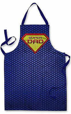 BLUE SUPER DAD SUPERHERO APRON KITCHEN BBQ COOKING GREAT GIFT IDEA L&S PRINTS
