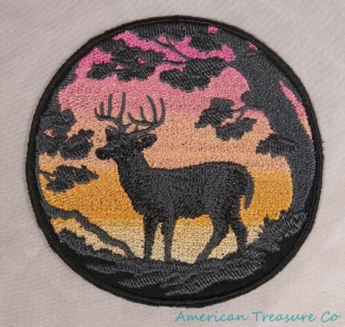 Embroidered Rose Orange Ombre Sunset Buck Deer Silhouette Patch Iron On Sew USA