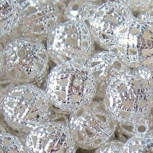 50 pièces 12mm fer trouver Perles-Argent-a6772