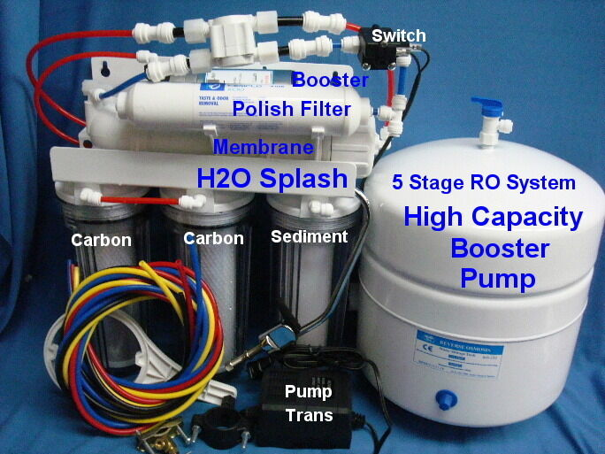 Reverse Osmosis System-Clear RO 100 150g 5 Stage Booster Pump Water Filter Tank