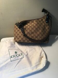 3335cef3008 Image is loading Gucci-Monogram-Logo-Brown-Handbag-Purse-Leather-Strap-