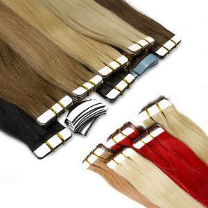 10-Tressen-Echthaar-Tape-In-On-Extensions-Haarverlaengerung-2-5g-Tresse-45-50cm