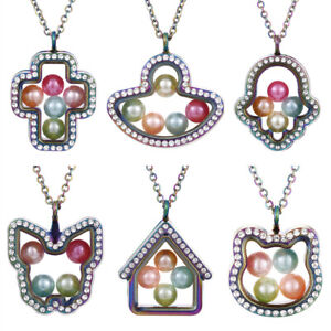 Rainbow-Colored-Living-Memory-Floating-Pendant-Pearl-Cage-Glass-Locket-Necklace