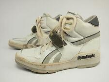 1980s REEBOK Vintage BB White/Gray Leather Hi Basketball Strap Shoes 44 - US 10