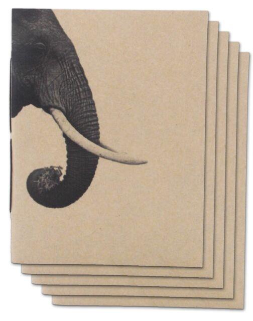 Pack 5 Handmade Journal Elephant mini Notebook Blank Paper Notepad Pocket Diary