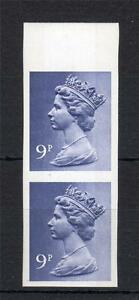 9p MACHIN UNMOUNTED MINT IMPERFORATE PAIR (INDENTS)
