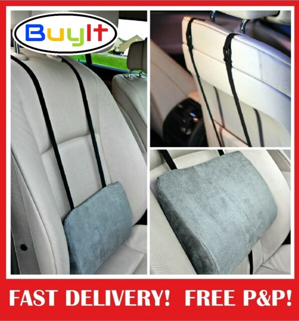 Support Pillow Cushion Lower Back Lumbar For Car Seat Office Chair Grey
