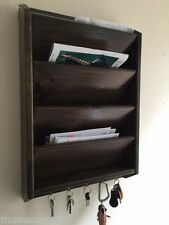 "4 pocket 24"" Mail Letter Rack Handmade Wood Organizer Key Holder WALL Jacobean"