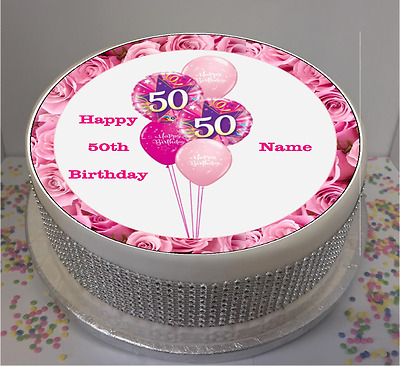 Miraculous Personalised 50Th Birthday Pink Balloons 8 Icing Sheet Cake Personalised Birthday Cards Bromeletsinfo