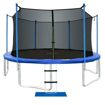 ORCC 15 Ft Trampoline with Enclosure Net and Safty Pad Ladder Lawn Stake Pegs