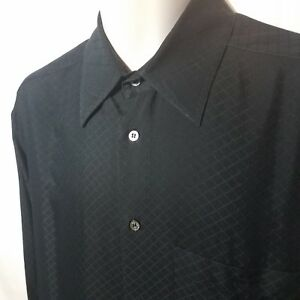 Men-039-s-Zanella-Black-Checkered-Long-Sleeve-Size-L-Large