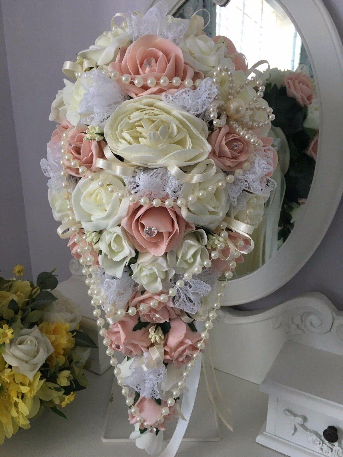 Vintage Peach & Ivory Douche Style Brides bouquet perles, réduit cette semaine 50 £