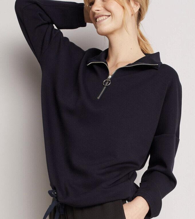 Women's Next Blue Sweatshirt, Zip Collar, Downtime, Loungewear Size Large New
