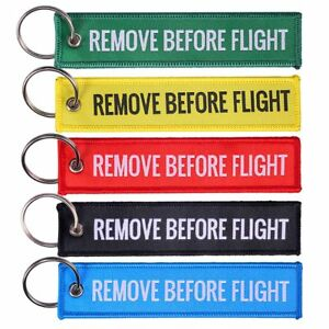 Image is loading Embroidered-Remove-Before-Flight-Keyring-Keychain -Luggage-Canvas- 28390e0542